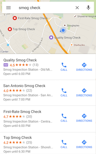 Screenshot of google map example on mobile app
