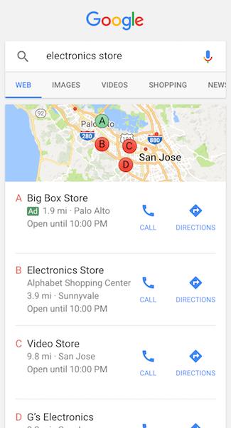 Screenshot of google map ad